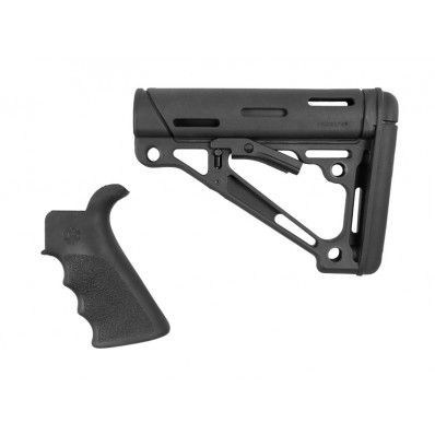 Hogue AR-15/M-16 Kit - Finger Groove Beavertail Grip & Over-Molded Collapsible Buttstock - Fits Commercial Buffer Tube Black