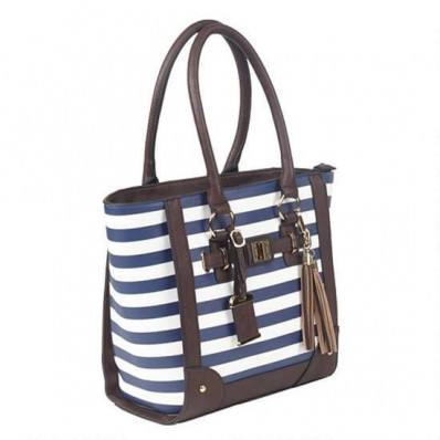 Bulldog Tote Style Purse w/Holsters - Navy Stripe