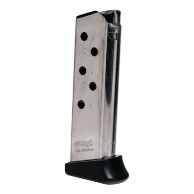 Walther PPK Magazine w/Finger Rest .380 ACP Nickel 6/rd