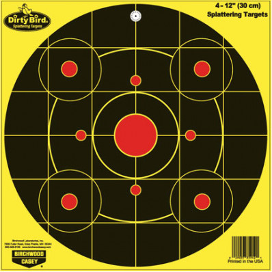 "Birchwood Casey Dirty Bird Bulls-Eye Sight-In Targets - 12"" Round, 4/Pack"