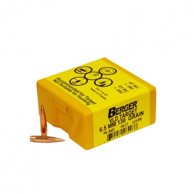 "Berger Match Grade Target Bullets 6.5mm .264"" 130 gr VLD 100/ct"