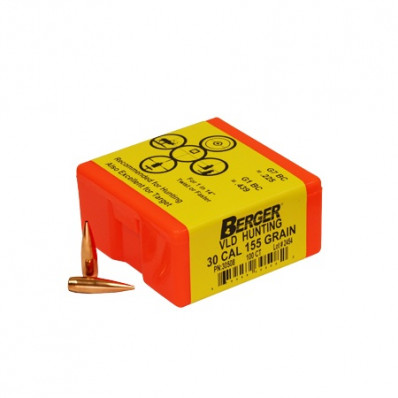 "Berger Match Grade Hunting Bullets .30 cal .308"" 155 gr VLD 100/ct"