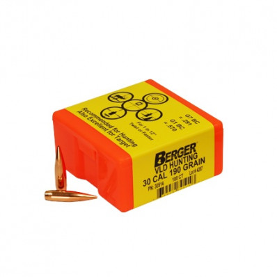 "Berger Match Grade Hunting Bullets .30 cal .308"" 190 gr VLD HUNTER 100/box"