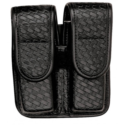 Bianchi Model 7902 Double Mag Pouch, Glock 20, 21, Basket Black, Hidden Snap