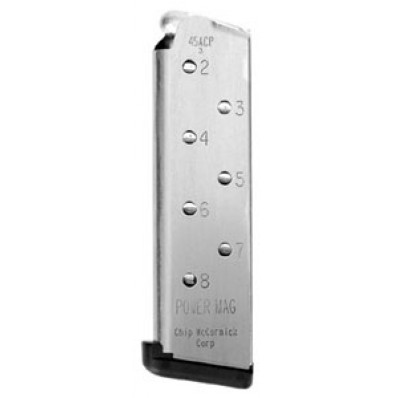 Chip McCormick Power Magazine - 1911 .45 ACP, Stainless Steel, 8 rds.