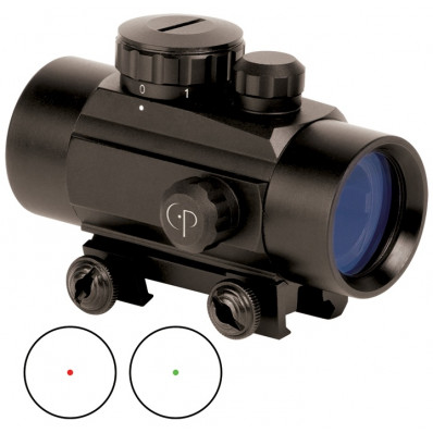 Center Point Red/Green Dot with Integral Picatinny Mount - 1x30mm 3 MOA - Matte