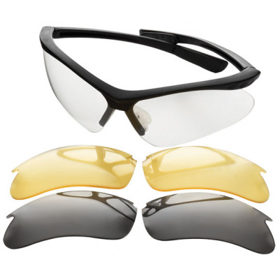 Champion Shooting Glasses - Open Black Frame / Interchangeable Lens (Clear/Smoke/Yellow)