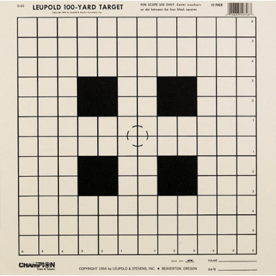 Champion Official NRA Targets TG-53, 100 yd., Scope Sighting-In, 12/Pack