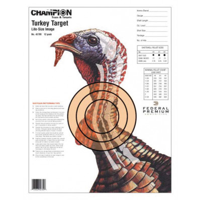 Champion Life-Size Turkey Sight-In Target, 12/Pack