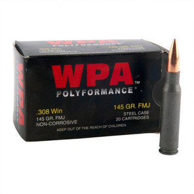 Wolf WPA Polyformance Centerfire Rifle Ammunition .308 Win 145 gr FMJ  - 20/box