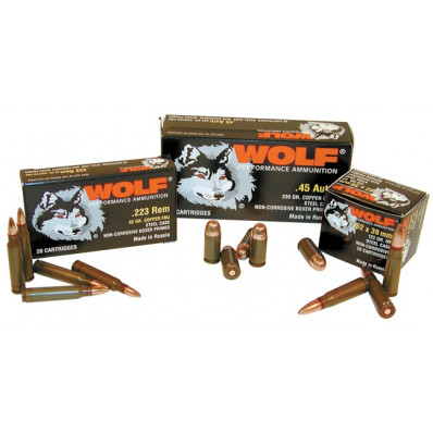 Wolf Polyformance Centerfire Handgun Ammunition 9mm Makarov 109 gr FMJ 1033 fps 50/box