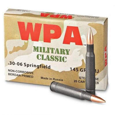 Wolf Military Classic Ammunition .30-06 Sprg 145 gr FMJ 2781 fps - 500/box