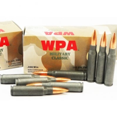 Wolf Military Classic Ammunition .308 Win 145 gr FMJ 2745 fps - 500/box