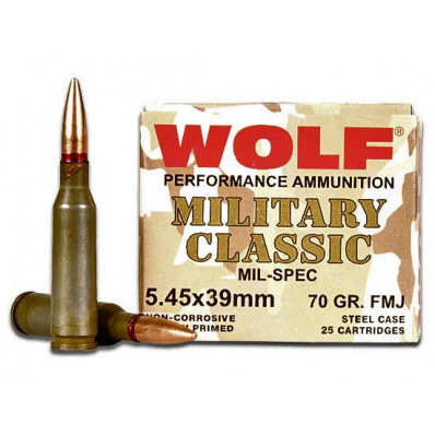Wolf WPA Military Classic Centerfire Rifle Ammunition 5.45x39mm 60 gr FMJ 2330 fps - 25/box