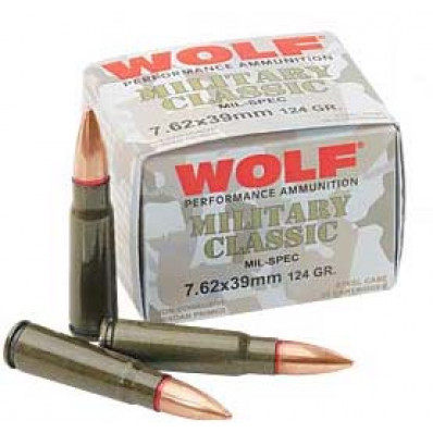 Wolf Military Classic Centerfire Rifle Ammunition 7.62x39 124 gr FMJ 2330 fps - 20/box