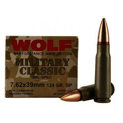 Wolf Military Classic Centerfire Rifle Ammunition 7.62x39 124 gr SP 2330 fps - 20/box