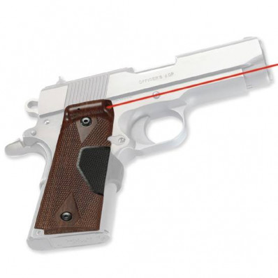 Crimson Trace Pro-Custom Lasergrip - Officer/Defender/Compact 1911 Walnut Finish Front Activation