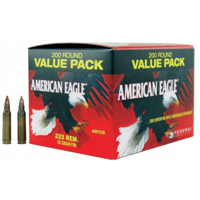 Federal American Eagle Centerfire Rifle Ammunition .223 Rem 55 gr FMJ 3240 fps - 200/box