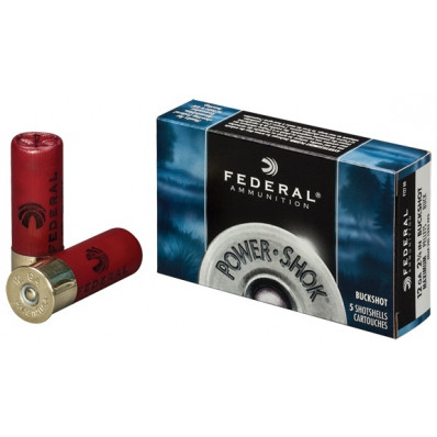 "Federal Power-Shok Buckshot 12 ga 2 3/4"" MAX 27 plts #4B 1325 fps - 5/box"