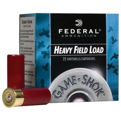"Federal Game-Shok Heavy Field Load 12 ga 2 3/4"" 3 1/4 dr 1 1/8 oz #4,6,7.5,8 1255 fps - 25/box"