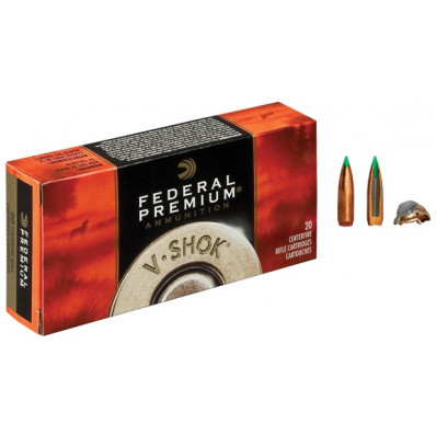 Federal Premium V-Shok Centerfire Rifle Ammunition .222 Rem 40 gr BT 3450 fps - 20/box