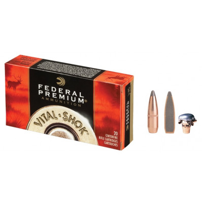 Federal Premium Vital-Shok Centerfire Rifle Ammunition .25-06 Rem 117 gr BTSP 3030 fps - 20/box