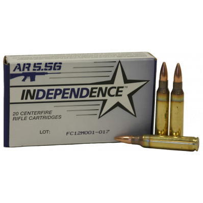 Federal Independence AR Ammuntion 5.56mm 55 gr BT 3165 fps - 500/box