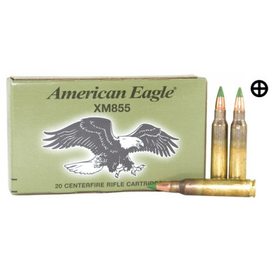 Federal Lake City XM855 Green Tip Centerfire Ammunition 5.56mm 62 gr FMJ 3020 fps - 20/box