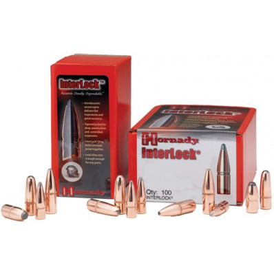 "Hornady InterLock Bullets .35 cal .358"" 200 gr RN 100/ct"