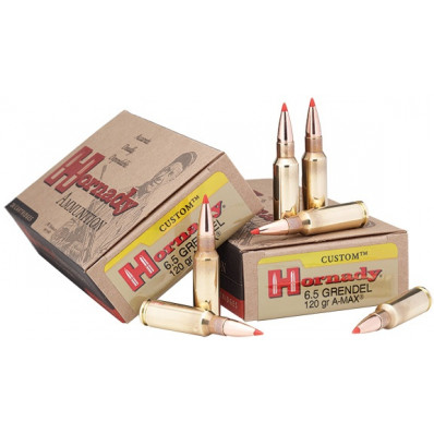 Hornady Custom Centerfire Rifle Ammunition 6.5 Grendel 123 gr A-MAX 2580 fps - 20/box