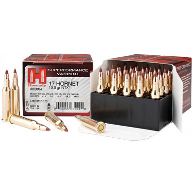 Hornady Superformance Centerfire Rifle Ammunition .17 Hornet 15.5 gr NTX 3870 fps - 20/box