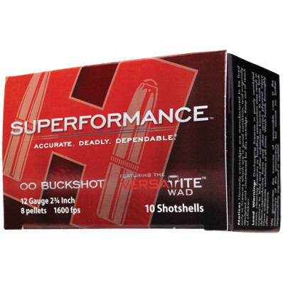 "Hornady Superformance 12 ga 2 3/4""  8 plts #00 1600 fps - 10/box"