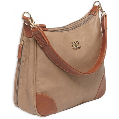 Bulldog Hobo Style Conceal Carry Purse W/ Holster - Taupe W/ Tan Trim