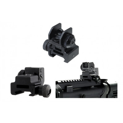 Leapers UTG Flip-up Rear Sight w/Windage Adj & Dual Aiming Apertures