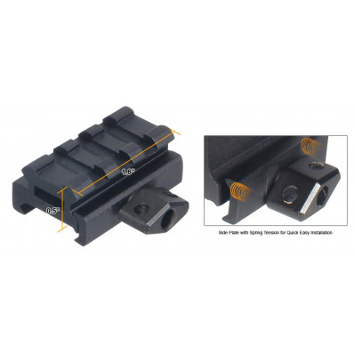 """Leapers UTG Low-Profile Compact Riser Mount, 0.5"""" High, 3 Slots"""