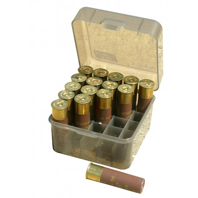 "MTM Dual Gauge Shotshell Case 3.5"" 25 Round - Clear Smoke"