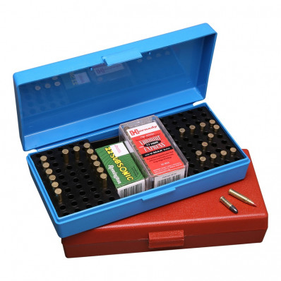 MTM .17 /.22 Rimfire Ammo Box 100/tray - Blue