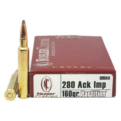 Nosler Trophy Grade Centerfire Rifle Ammunition .280 Ackley Improved 140 gr AB 2950 fps - 20/box