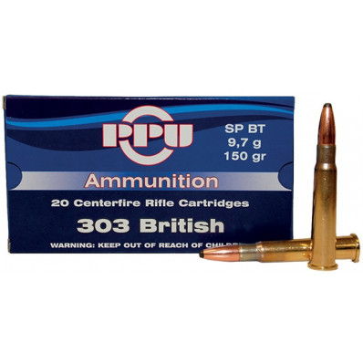 PPU Centerfire Rifle Ammunition .303 British 150 gr SP 2690 fps - 20/box