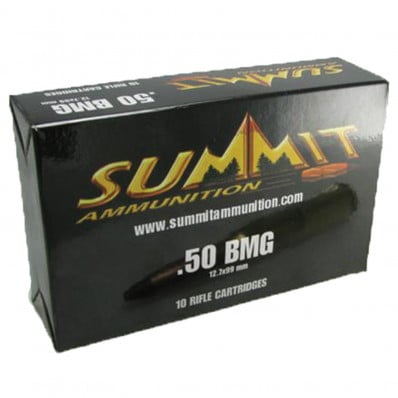 Summit Centerfire Rifle Ammunition with Once-Fired Brass .50 BMG 619 gr APIT  - 10/box