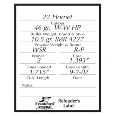 Frankford Arsenal Pistol/Rifle Reloader Labels - 100 Blister Pack
