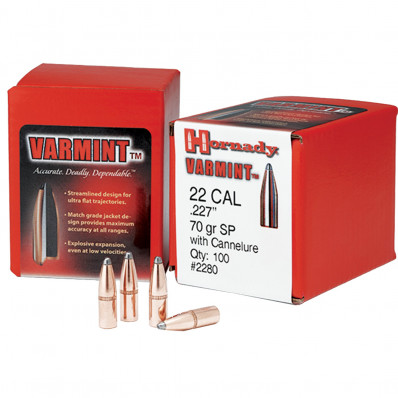"Hornady Traditional Varmint Bullets 6mm .243"" 87 gr SP 100/ct"