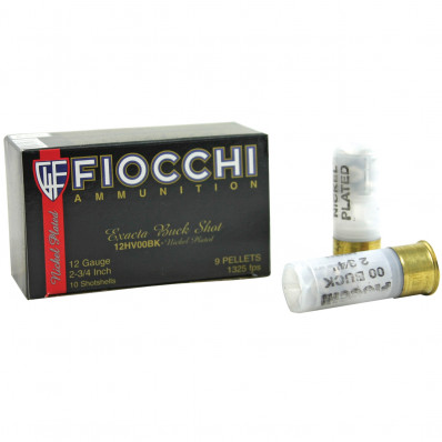 "Fiocchi Nickel-Plated Buckshot 12 ga 2 3/4"" MAX 27 plts #4B 1325 fps - 10/box"