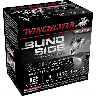 "Winchester Blind Side Hex Shot 12 ga 3 1/2""  1 3/8 oz #1 1675 fps - 25/box"
