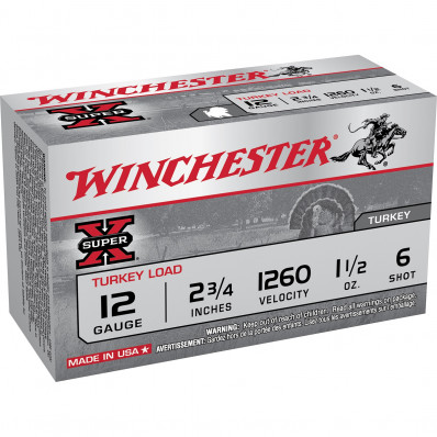 "Winchester Super-X Turkey 12 ga 2 3/4""  1 1/2 oz #4 1260 fps - 10/box"