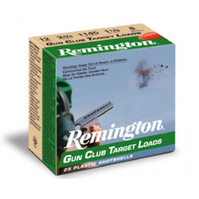 "Remington Gun Club Target Load 12 ga 2 3/4"" 2 3/4 dr 1 oz #8 1185 fps - 25/box"