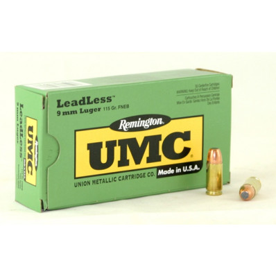 Remington UMC Centerfire Handgun Ammunition 9mm Luger 115 gr FNEB  50/box