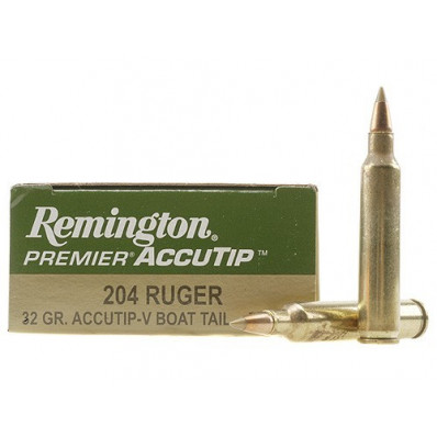 Remington Premier AccuTip Varmint Centerfire Rifle Ammunition .204 Ruger 32 gr ATV - 4225 fps
