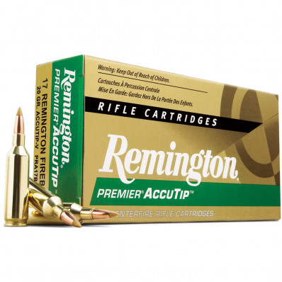 Remington Premier AccuTip Varmint Rifle Ammunition .17 Rem Fireball 20 gr ATV - 4000 fps
