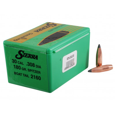Sierra GameKing Rifle Bullets - .308 cal .308 dia 180 gr SBT - 100/ct